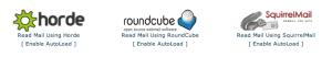 Aplicativos de Webmail disponíveis para acessar o e-mail.