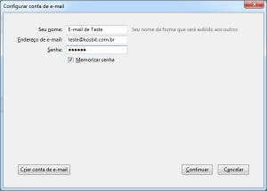 Thunderbird: Informações de usuário e senha do e-mail