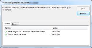 Outlook: Testando configurações da conta