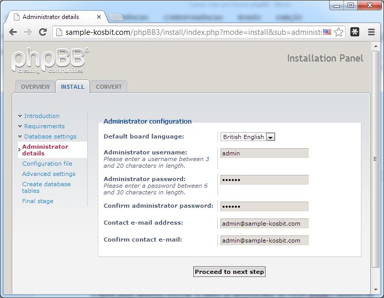 Configurações do administrador do fórum