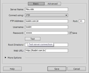 Configurações de FTP de seu servidor