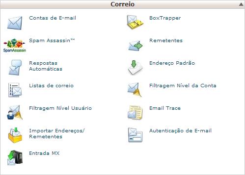 Sessão de e-mail do painel de controle