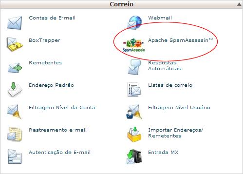 Área de acesso do SpamAssassin