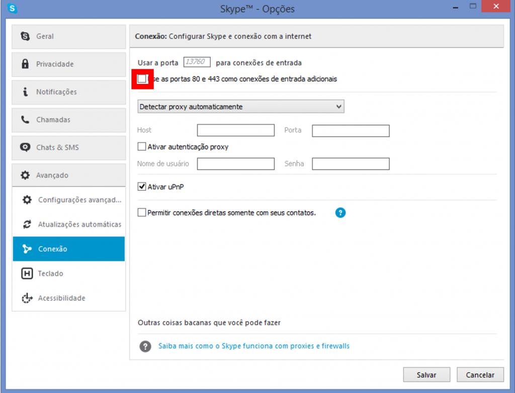 Skype Desmarcando as portas 80 e 443